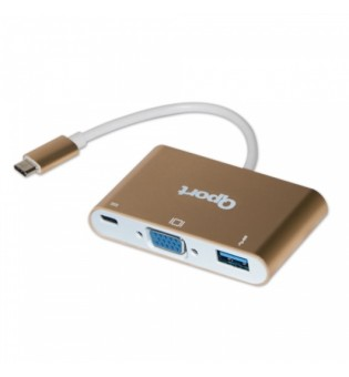 Qport Q-Tv03 Type-C To Vga+USB 3.0+Type-C Converter