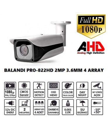 BALANDI PRO-822HD 2MP 3.6MM 4 ARRAY LED AHD BULLET