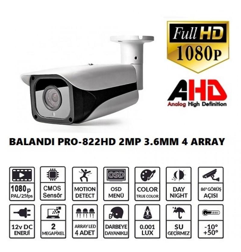 BALANDI PRO-822HD 2MP 3.6MM 4 ARRAY LED AHD BULLET