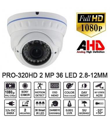 BALANDI PRO-320HD 2MP 1080P 2.8-12MM IP66 AHD DOME