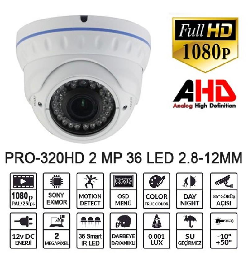 BALANDI PRO-320HD 2MP 1080P 2.8-12MM IP66 AHD DOME
