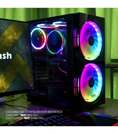 darkFlash BF1 ATX Mid Tower Gaming Tempered Glass Case with a Pair of 20 cm 200mm RGB case Fans